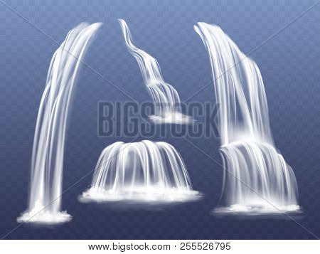 Waterfall Or Water Cascade Vector Illustration. Isolated Realistic Set Of Flowing Streams Falling Do