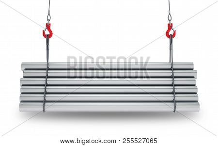 Crane Hooks With Stack Of Steel Metal Tubes Isolated On White Background With Clipping Path. 3d Rend