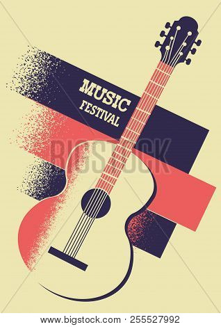 Music Poster Background With Acoustic Guitar And Text
