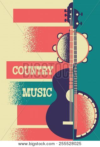 Music Poster Background With Musical Instruments And Decoration For Text.vector Country Music Poster