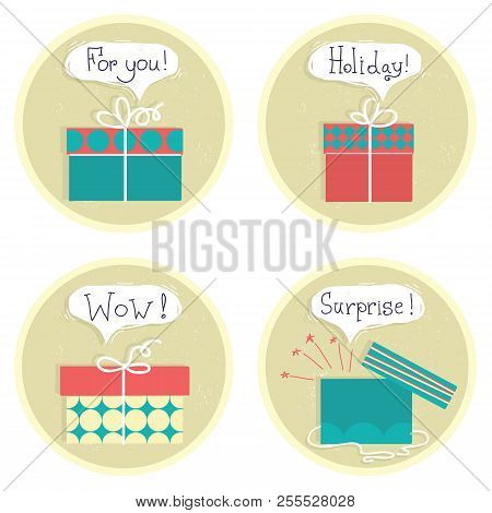 Gift Boxes .vector Set Color Presents With Text Isolated On White