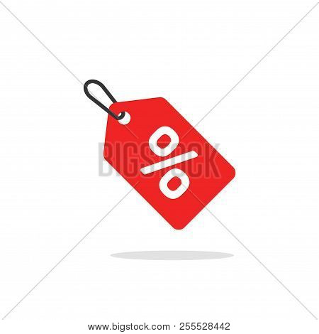 Sale Tag Icon Vector, Flat Cartoon Discount Label Red Colored On Rope, Clearance Symbol, Special Dea