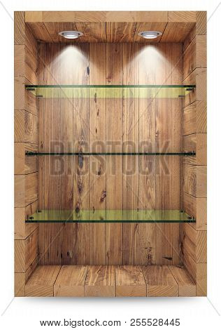 Empty Wooden Showcase With Glass Shelves For Exhibition. Islolated On White With Clipping Path. 3d R