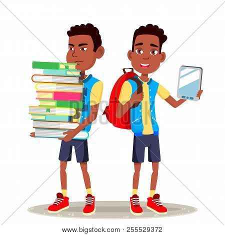 E-book Reader Vector. Boy, Afro American Child. Contemporary Education. Paper Book Vs E-book. Isolat
