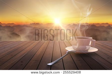 Close Up Coffee Cup On Wooden Table At Sunset