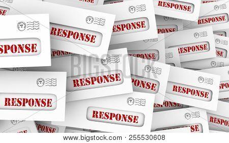 Response Answers Survey Results Envelopes 3d Illustration