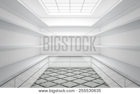 Large Bright Wardrobe Room With Empty Shelves. 3d Rendering