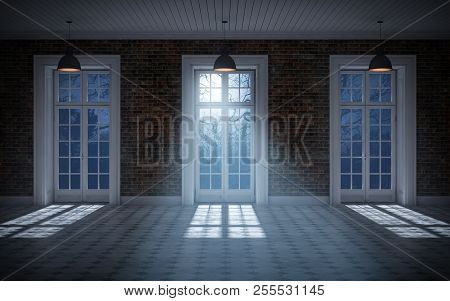 Empty Dark Room With Moonlight Coming Through Windows. 3d Rendering