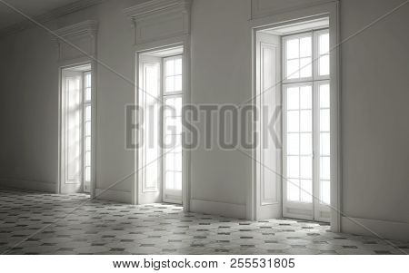 Empty Bright Room With Huge Windows. 3d Rendering