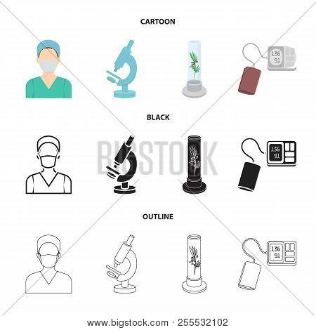 Plant In Vitro, Nurse, Microscope, Tonometer. Medicine Set Collection Icons In Cartoon, Black, Outli