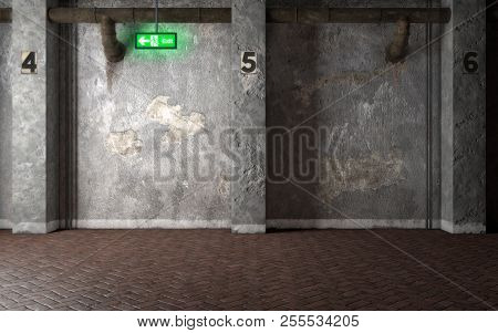 Industrial Interior Room With Concrete Walls And Glowing Exit Sign. 3d Rendering