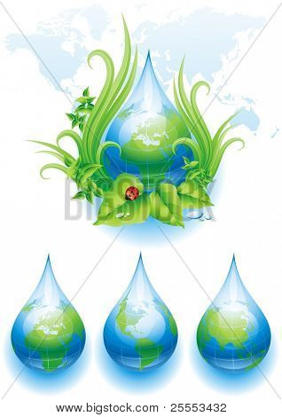 ECO background and three globes in the form of a drop. Vector illustration.
