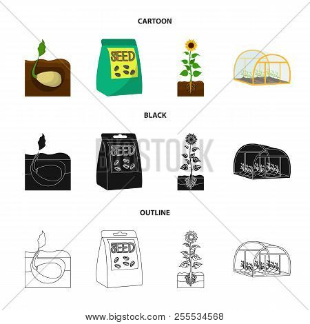 Company, Ecology, And Other Web Icon In Cartoon, Black, Outline Style. Husks, Fines, Garden Icons In