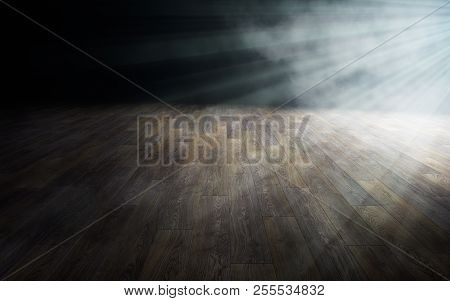 Light On Wooden Floor In Empty Room. 3d Rendering
