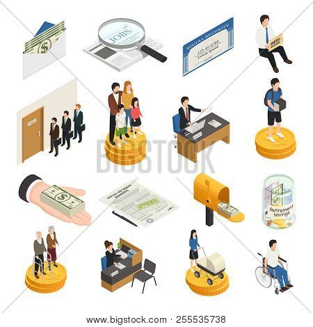 Social Security Isometric Icons, Unemployment, Supports For Families, Students And Single Mothers, D