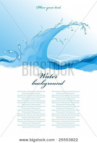 Water background. Wave. Vector illustration.