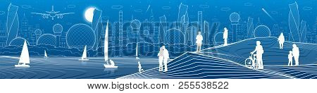 City Infrastructure Illustration. Yachts Sail On The Sea. People Walking At Shore. Modern City. Urba