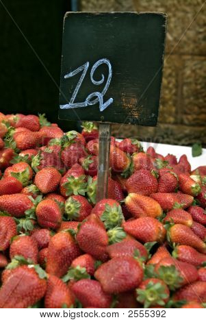 Pile Of  Strawberries In The Market