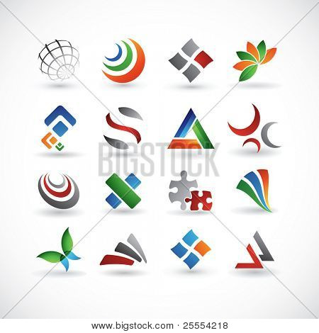A set of 16 abstract design elements in various colors