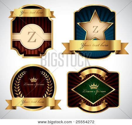 Set of various gold vector labels for your text