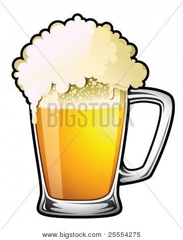 Illustration of a large overflowing draught beer