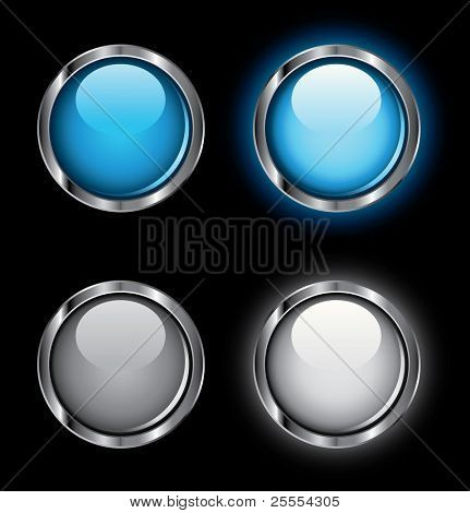 Shiny rollover web buttons on a black background