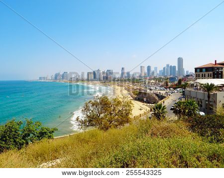 Panoramic View Of The Coast Of The City Of Tel Aviv From The Side Of The Embankment Of The City Of J