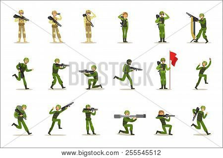Infantry Soldiers In Full Military Khaki Uniform With Guns During War Operation Set Of Cartoon Land