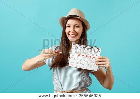 Portrait Of Happy Woman In Blue Dress, Hat Holding Red Pencil, Female Periods Calendar For Checking