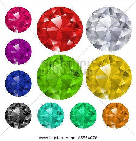 Multicolored gems collection