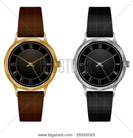 Vector wristwatches - golden and silver. No meshes.
