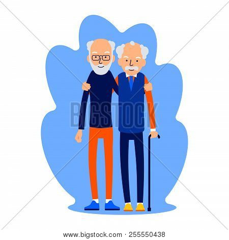 Two Men Hugging. Male Friendship. Friends Standing, Hugging Each Other. Elderly Man, Two Best Friend