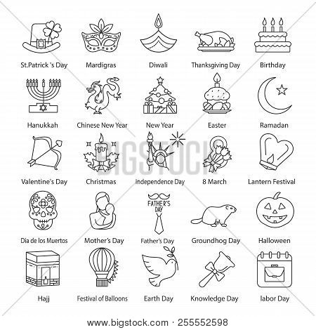 Holidays Linear Icons Set. Seasonal Holidays Of Different Countries. Greeting Card Ideas. Thin Line