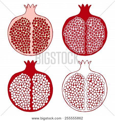 Hand Drawn Decorative Pomegranate Made Of Doodles For Rosh Hashanah Greeting Card, Jewish New Year.