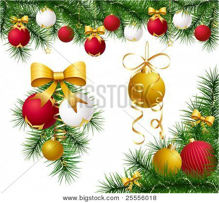 Set of festive decorations with baubles, bows and fir branches - raster version