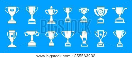Trophy Cup Icon Set. Simple Set Of Trophy Cup Icons For Web Design Isolated On Blue Background
