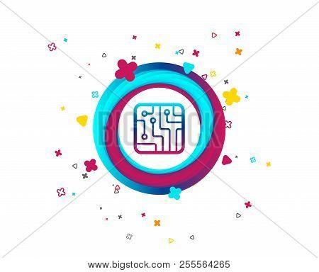 Circuit Board Sign Icon. Technology Scheme Square Symbol. Colorful Button With Icon. Geometric Eleme