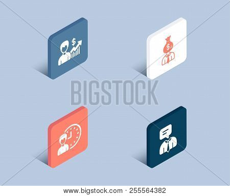 Set Of Business Growth, Manager And Working Hours Icons. Support Service Sign. Earnings Results, Wor