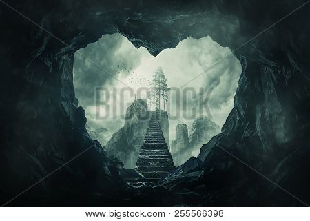 Surreal View Heart Shaped Dark Cave Exit And Mystic Stairway Crossing The Misty Abyss Going Up To Un
