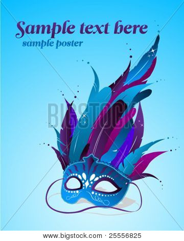 Vector party mask poster template
