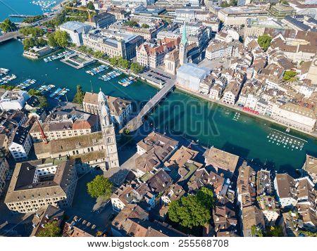 ZURICH - JULY 1: Aerial view of Zurich historical center on July 1, 2018 in Zurich, Switzerland.
