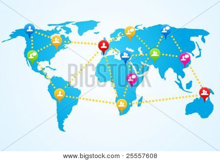 Social connection map with pin icons