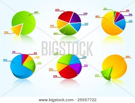 Set of colorful business charts