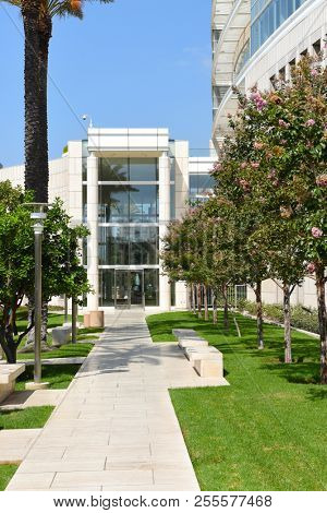 SANTA ANA, CALIFORNIA - AUG 27, 2018: The Ronald Reagan Federal Building and Courthouse in Santa Ana, is an eleven-story Federal courthouse facility, renamed for the former president in 1992.