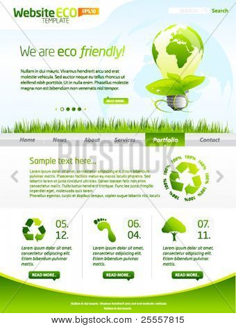 Green eco website template with lightbulb 1