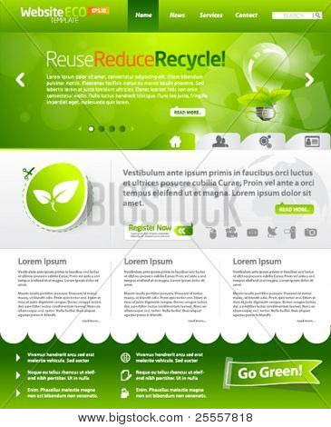 Green eco vector website template with lighbulb 3
