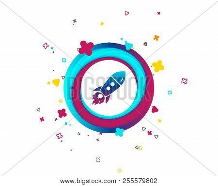 Start Up Icon. Startup Business Rocket Sign. Colorful Button With Icon. Geometric Elements. Vector