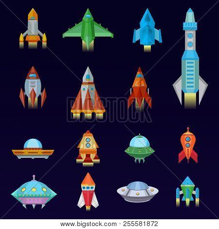 Rocket Vector Spaceship Or Spacecraft And Spacy Ufo Illustration Set Of Spaced Ship Or Rocketship Fl