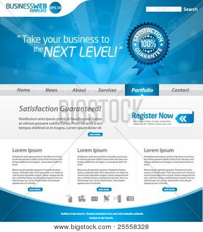Blue business web template layout