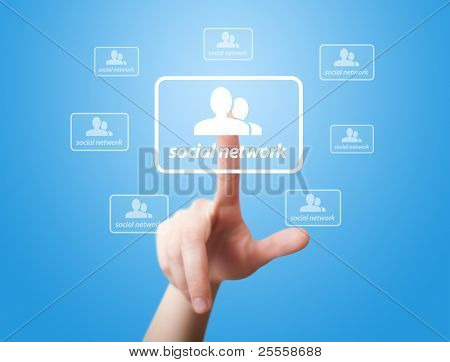 man hand pressing Social Network icon 2